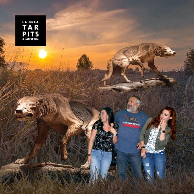 Green screen photo fun at the La Brea Tar Pits.