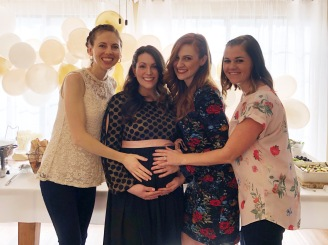 Carissa, Lisa, Paulina and I together to celebrate Lisa and Kevin's little girl.