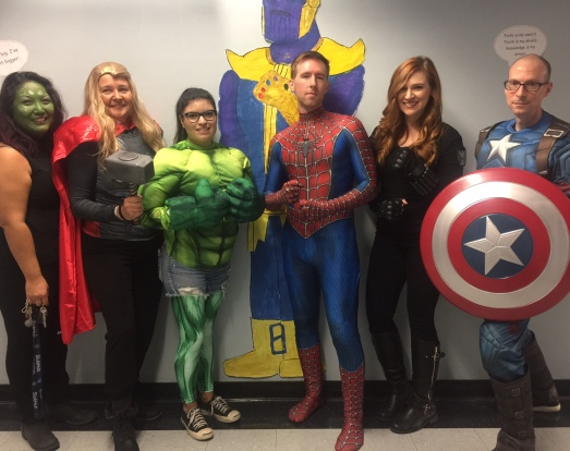 Avengers, assemble! Thor, Hulk, Spiderman, Black Widow, and Captain America.
