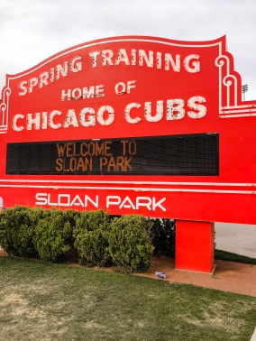 Sloan Park's Wrigley Field sign replica. You must get a photo here!