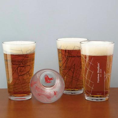 Set of 2 Ball Park Map Pint Glasses ($38) - https://www.uncommongoods.com/product/baseball-park-map-pint-glasses-set-of-2