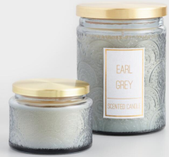 Embossed Scented Candles - Comes in lots of scents and colors! ($4 for small, $15 for large) - https://www.worldmarket.com/product/earl-grey-embossed-filled-jar-candle.do?sortby=ourPicks