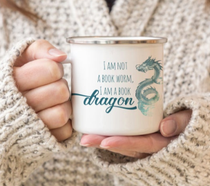 Book Dragon Mug ($18) - https://www.etsy.com/listing/739268121/book-dragon-mug-bookish-mug-camp-mug?ga_order=most_relevant&ga_search_type=all&ga_view_type=gallery&ga_search_query=bookish&ref=sr_gallery-2-37&organic_search_click=1&frs=1