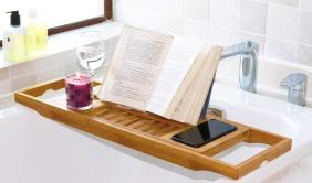 Bamboo Bathtub Reading Tray ($30) - https://www.amazon.com/DOZYANT-Bathtub-Extending-Reading-Cellphone/dp/B01IOQPSNA/ref=as_li_ss_tl?keywords=reading+caddy&qid=1574231122&sr=8-4&linkCode=ll1&tag=bookmarksandb-20&linkId=954ed4b8875549e76395e742c89f5061&language=en_US