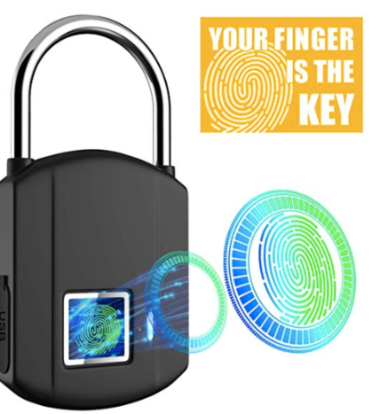 Fingerprint Padlock ($24) - https://www.amazon.com/Fingerprint-Waterproof-Biometric-Recharge-Thumbprint/dp/B07X1VZR25/ref=as_li_ss_tl?keywords=fingerprint+lock&qid=1574224988&refinements=p_72:1248909011&rnid=1248907011&s=hi&sr=1-5&linkCode=ll1&tag=bookmarksandb-20&linkId=efb489eaa6e46d413f695d553a09bb11&language=en_US