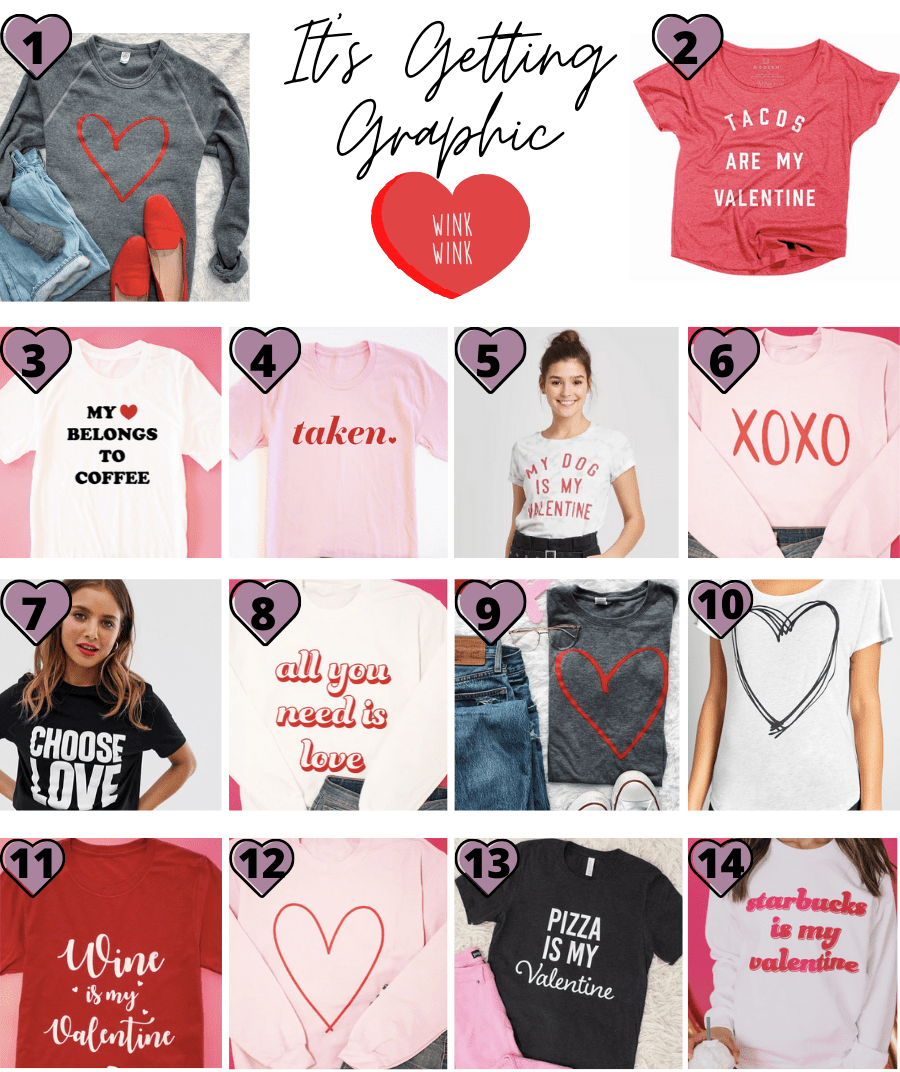 Valentine's Day Graphic Tees and Sweathsirts