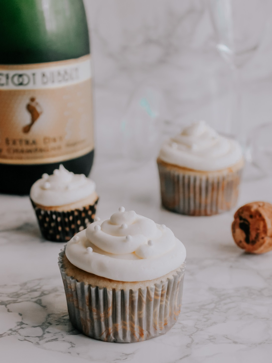 Champagne + Almond Cupcakes